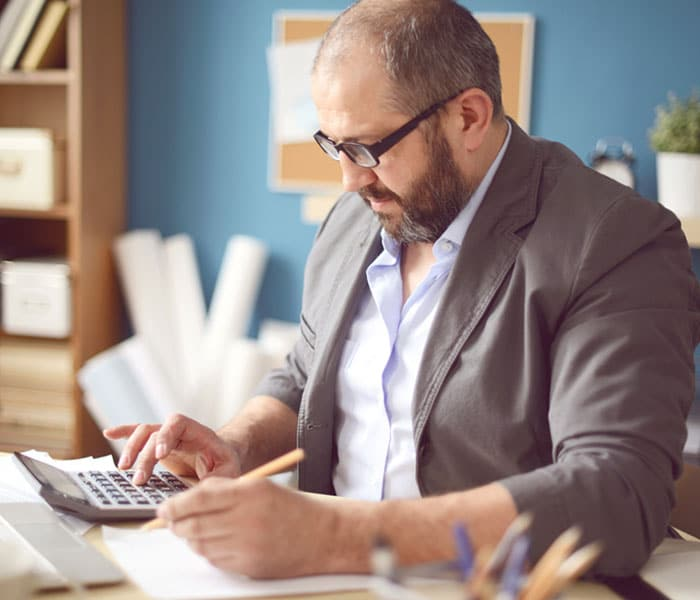 Man going over business finances
