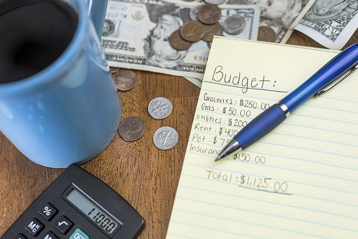 household budget planning workspace with money and calculator