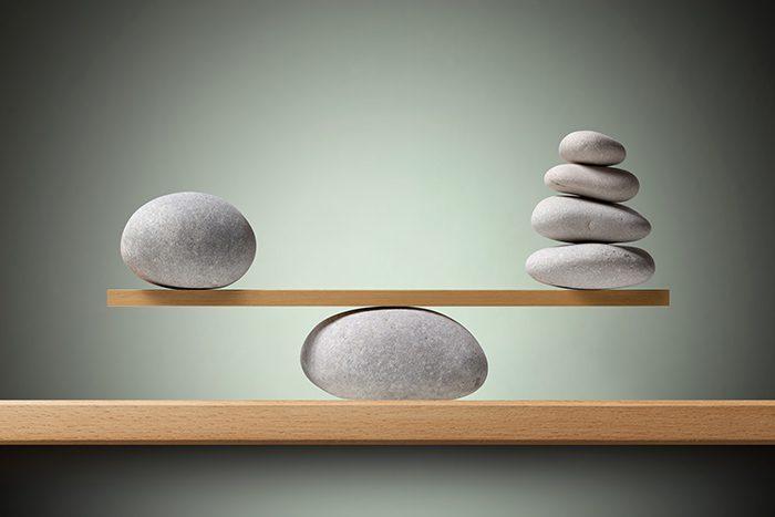 Balancing stones on the shelf.